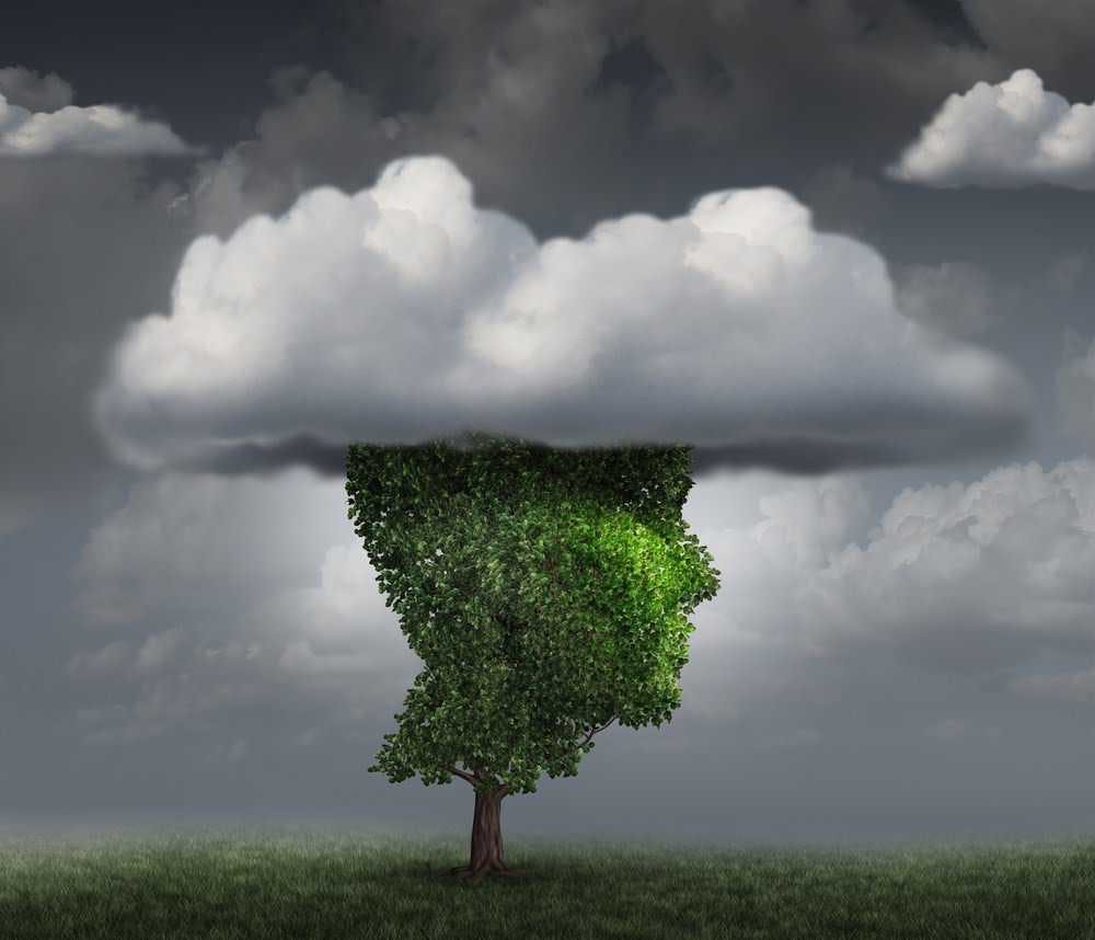 An image of a head with a cloud.