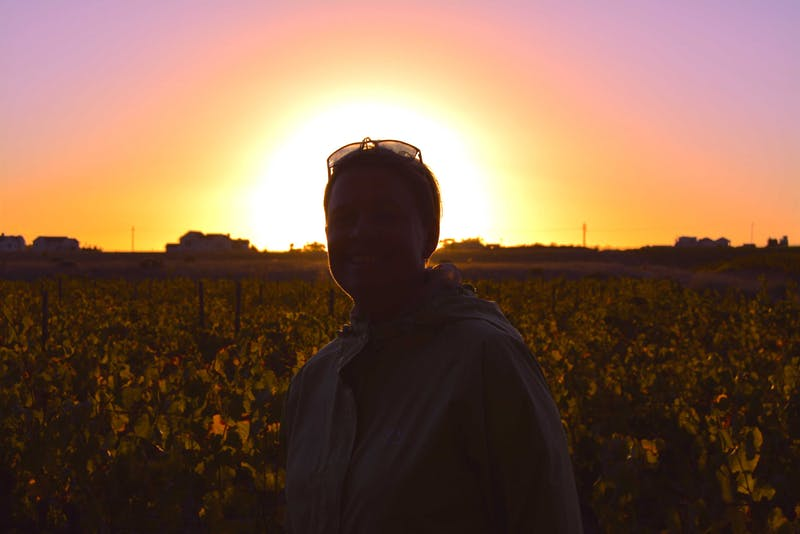 Anita in a vineyard with the sunset behind her.