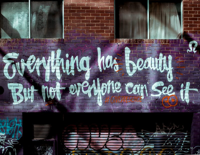 "words graffitied on a wall saying  ""everything has beauty but not everyone can see it"""