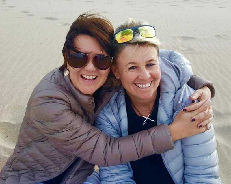 Brigette and Anita on the beach in Durban