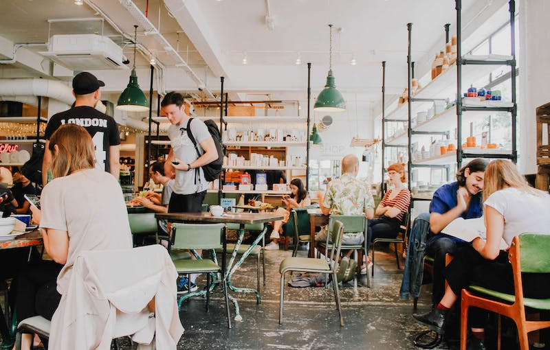 A picture of people sitting in a coffee shop