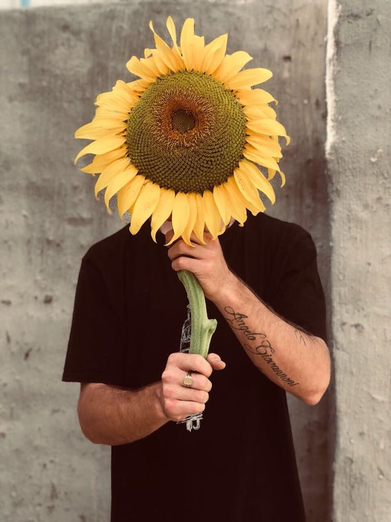 A photo of Jake holding a sunflower in front of his head.