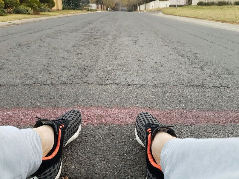 Shoes in road.