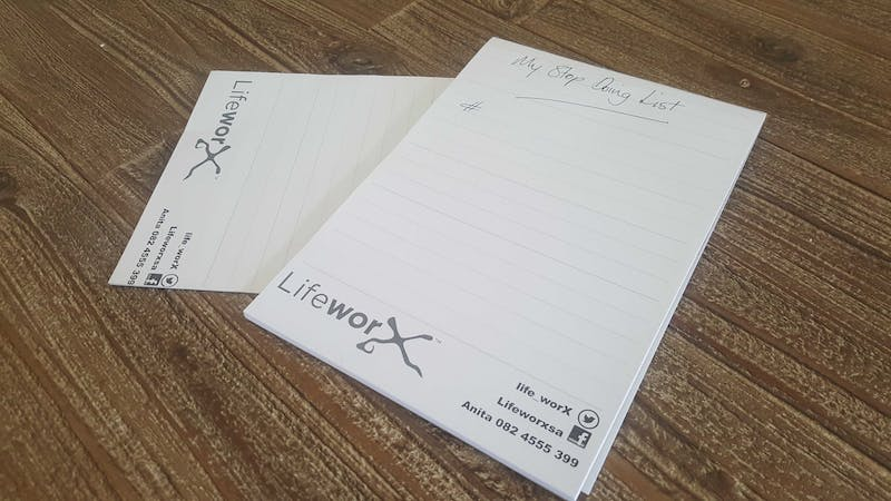 This is a picture of Lifeworx blank pages with My stop doing list written on the top