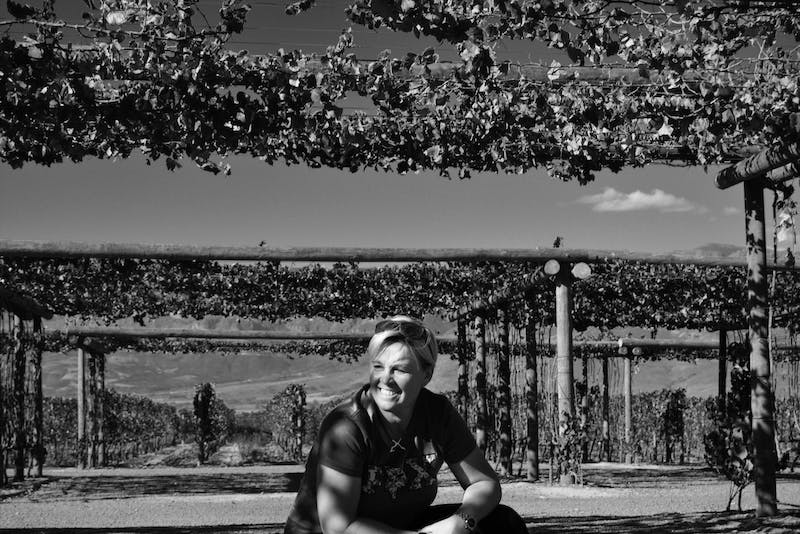 This a a pic in black and white of me in the vinyards at Babelentoring