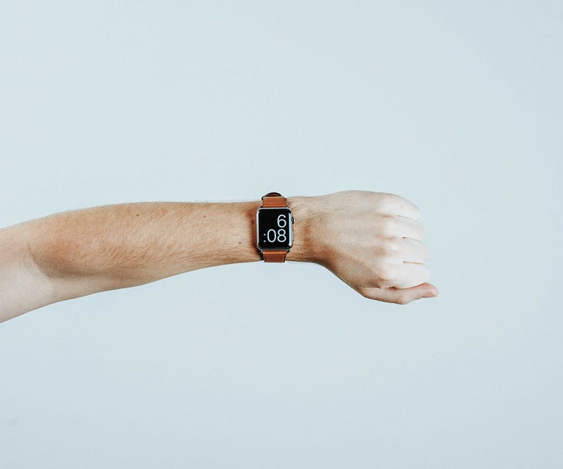 This is a picture of a smart watch on an arm